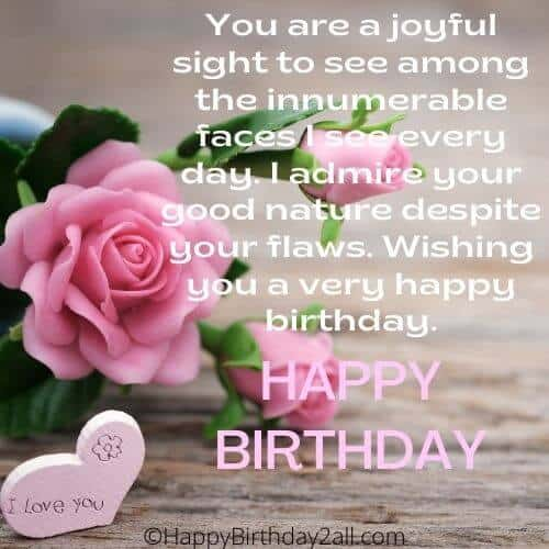HAPPY BIRTHDAY wish for someone special with pink rose