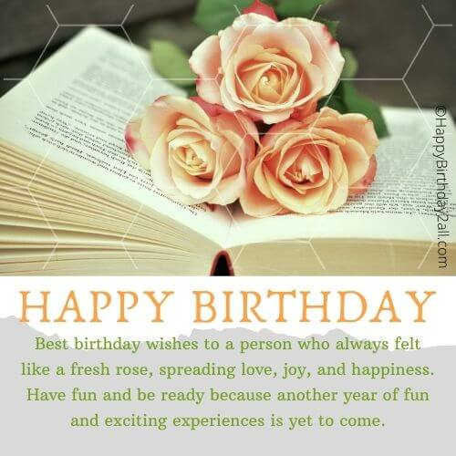 HAPPY BIRTHDAY wish with pink roses