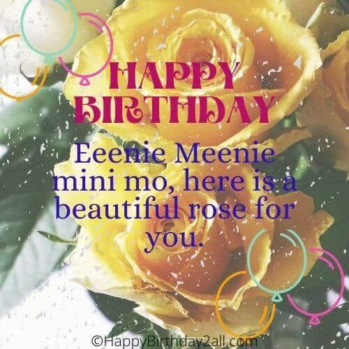 HAPPY BIRTHDAY wish with yellow rose