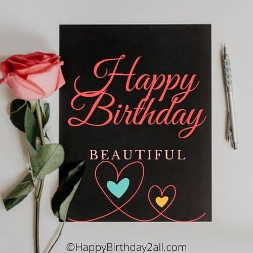 Happy Birthday wish note with a pink rose