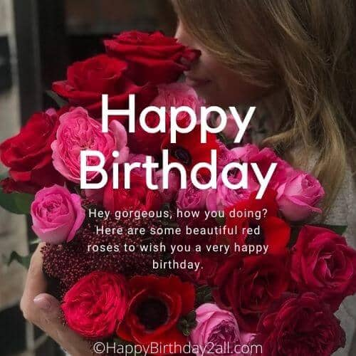 Happy Birthday wish with pink and red roses bouquet