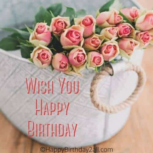 Wish You Happy Birthday with pink roses