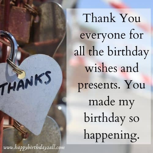 facebook status thank you birthday wishes
