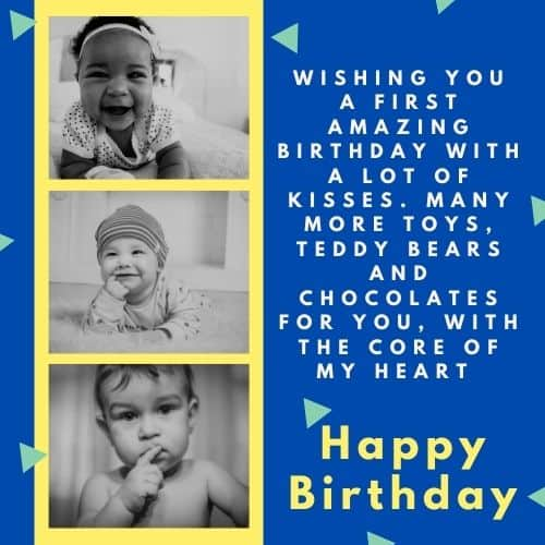 Happy first Birthday wishes for baby boy