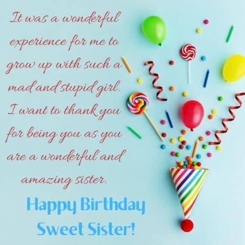 birthday lines for sweet sister
