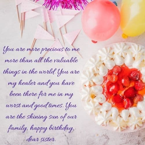 birthday wish image for dear sister