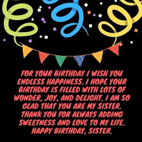 birthday wsihes for sweet sister